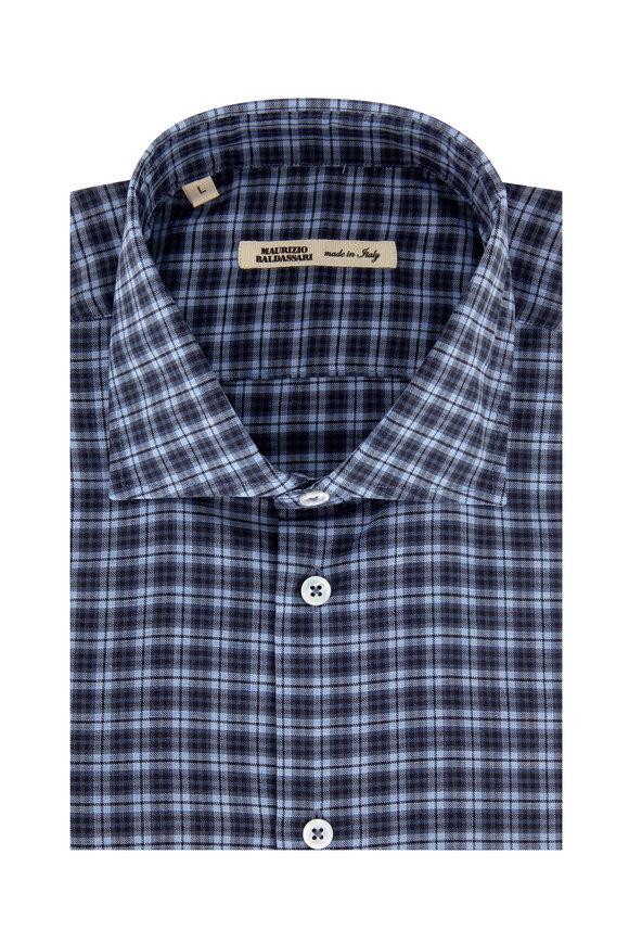 Maurizio Baldassari Navy Blue Plaid Sport Shirt