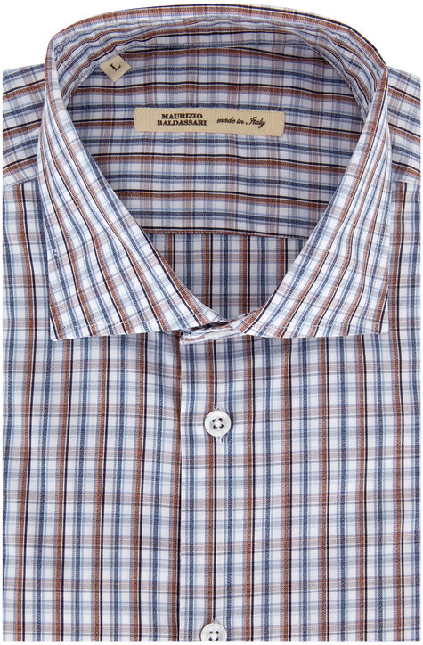 Maurizio Baldassari Brown & Blue Plaid Sport Shirt