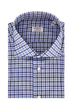 Borriello - Dark Blue Plaid Dress Shirt