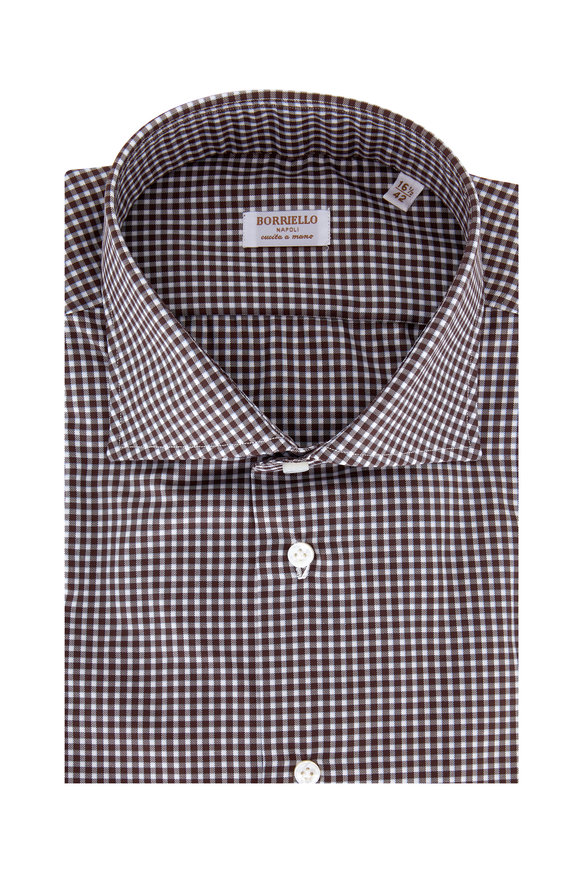 Borriello Brown Plaid Dress Shirt