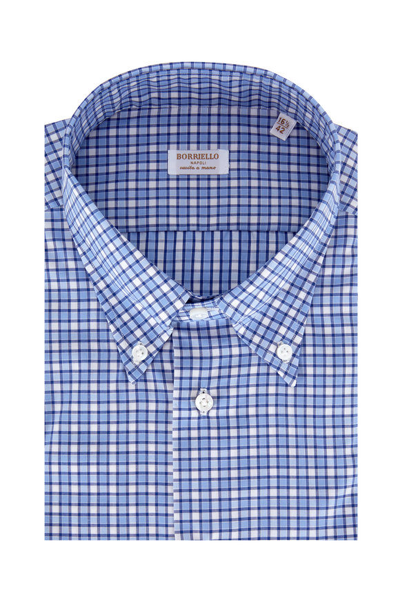 Borriello Navy Blue Plaid Dress Shirt