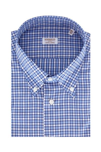 Borriello - Navy Blue Plaid Dress Shirt