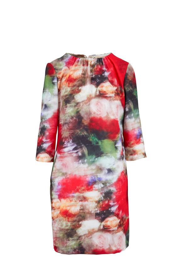Adam Lippes Multi Floral Printed Shirred Neck Mini Dress