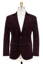 Brunello Cucinelli - Burgundy & Black Velvet Plaid Sportcoat
