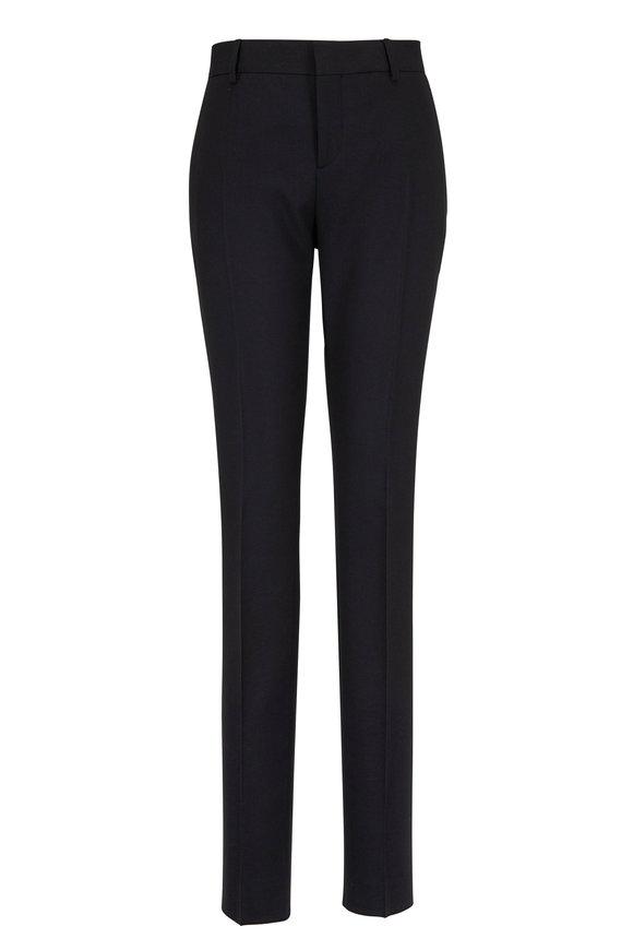 Saint Laurent Black Wool Mid-Rise Slim Pant