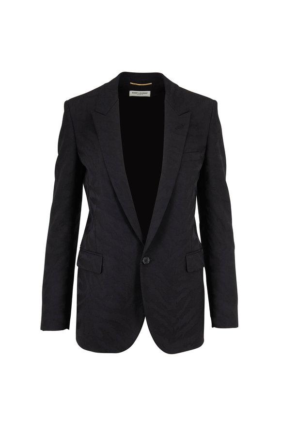 Saint Laurent Black Tonal Shadow Zebra Wool Jacket