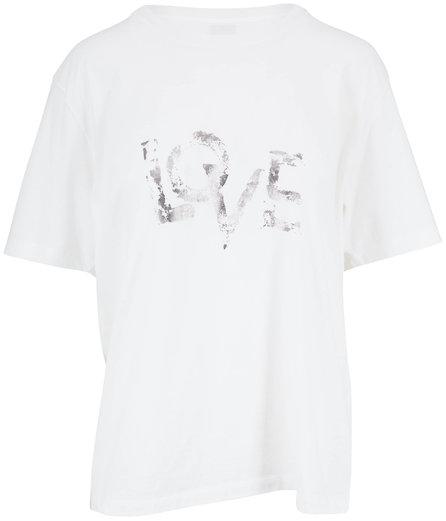 Saint Laurent Natural Foiled Silver LOVE T-Shirt