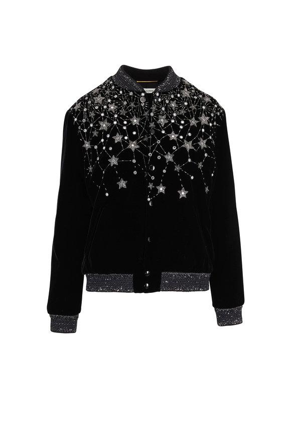 Saint Laurent Black Velvet YSL Logo Embroidered Varsity Jacket