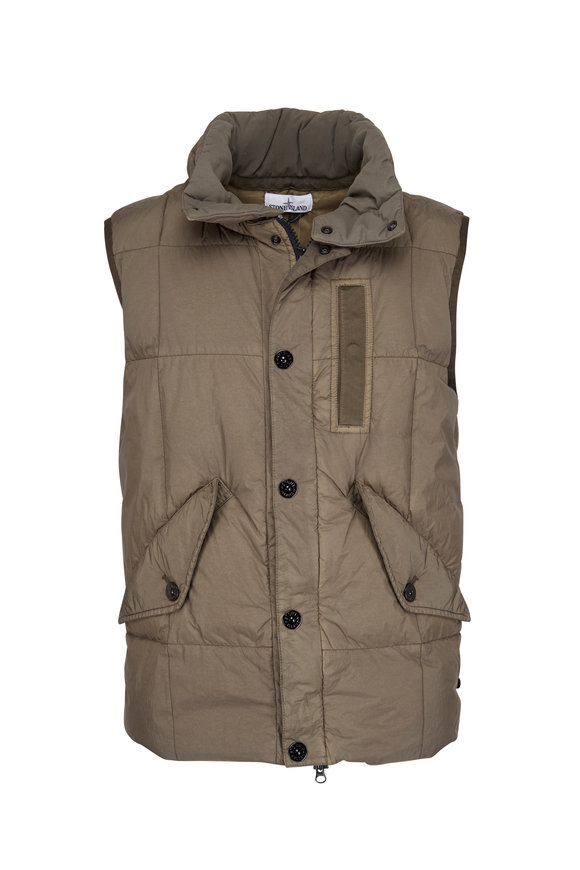 Stone Island Green Nylon Quilted Down Vest