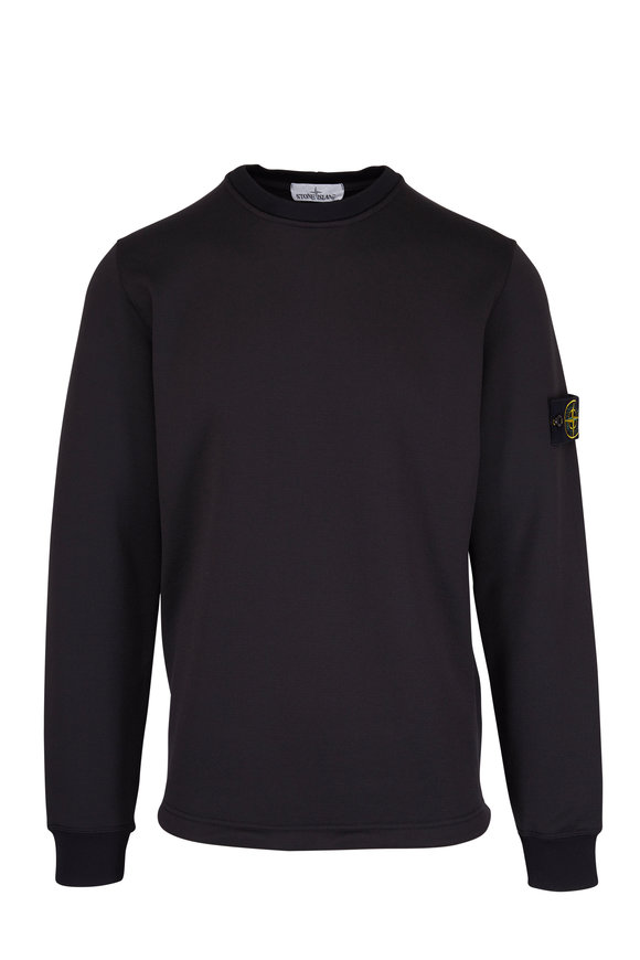 Stone Island Black Cotton Nylon Crewneck Sweatshirt