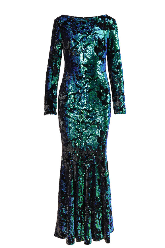 Talbot Runhof Lorena4 Emerald Sequin Long Sleeve Gown