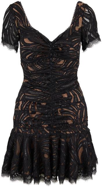 Jonathan Simkhai Black Metallic Lace Ruffle Hem Dress