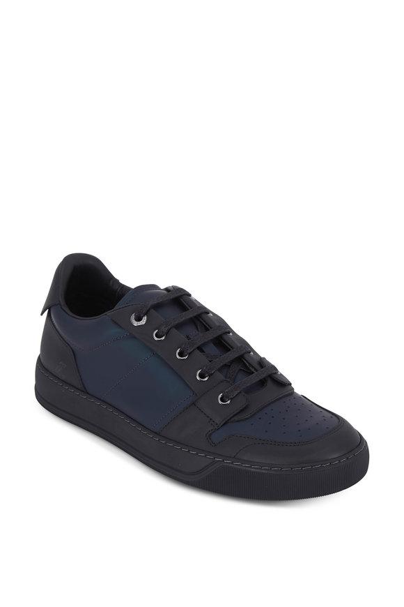Lanvin Dark Blue Metallic Leather Sneaker