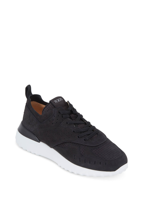 Tod's Black Perforated Suede Lace-Up Sneaker