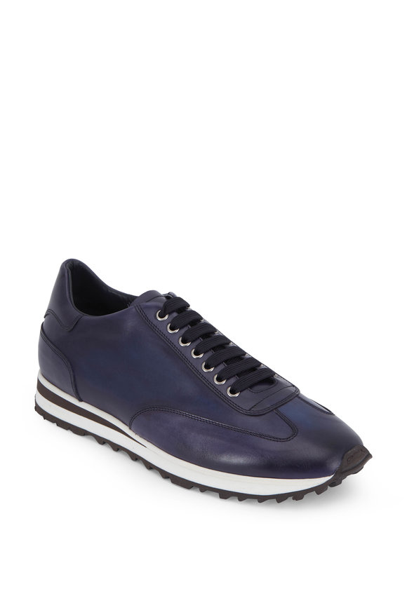 Di Bianco Olimpic Navy Blue Burnished Leather Sneaker