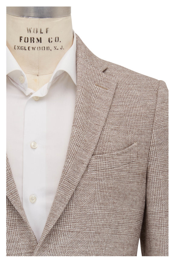 Etro Tan Cotton & Wool Plaid Knit Sportcoat