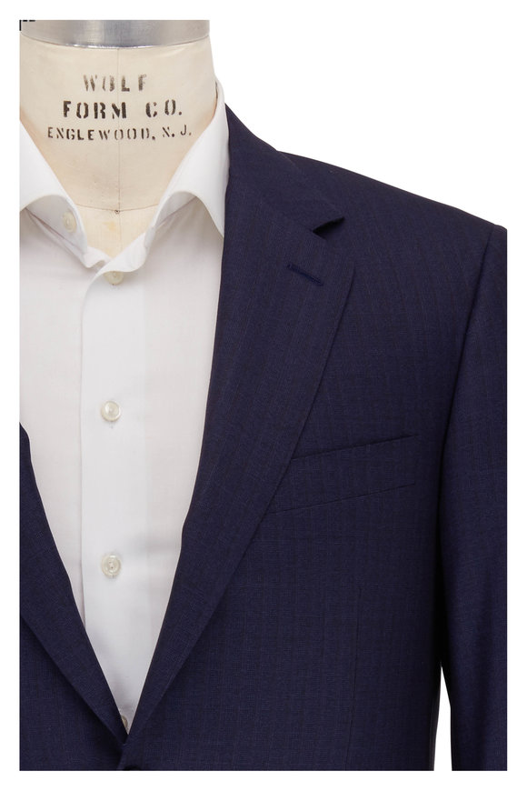 Canali Navy Blue & Brown Striped Wool Suit