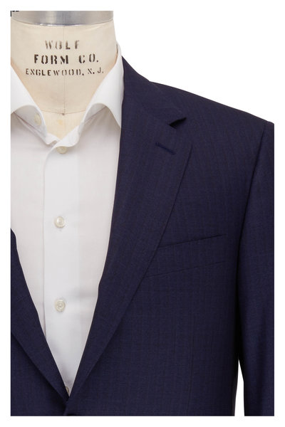 Canali - Navy Blue & Brown Striped Wool Suit