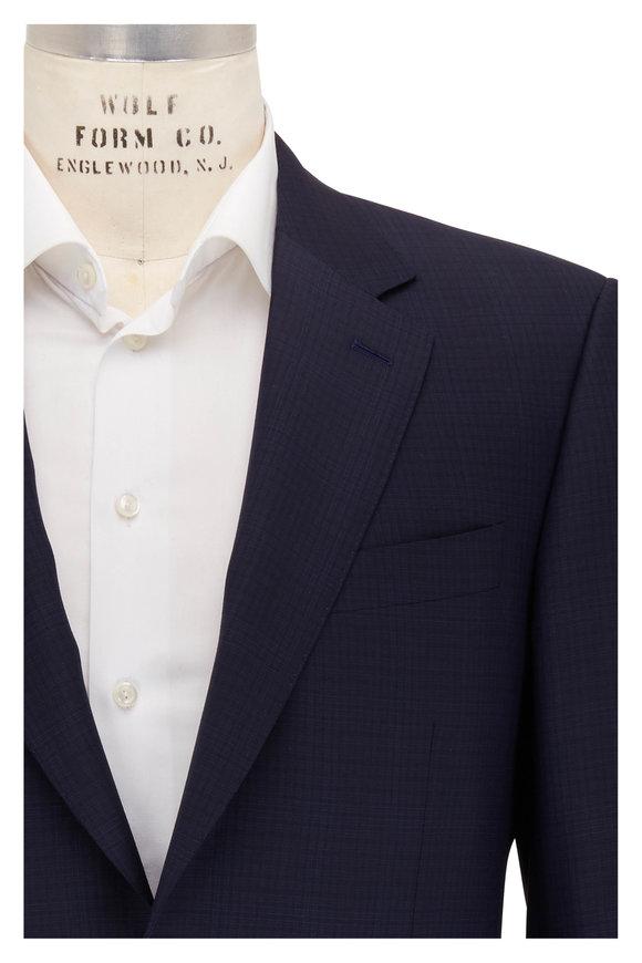 Canali Navy Blue Tonal Windowpane Wool Suit