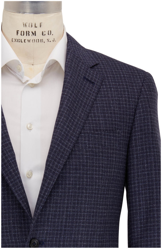 Canali Blue Textured Wool & Cashmere Sportcoat