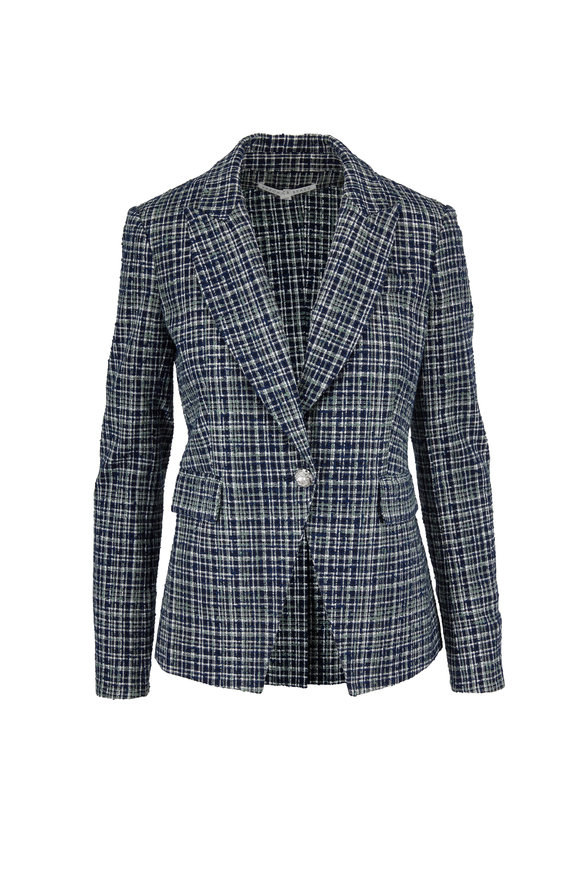 Veronica Beard Navy Multi Plaid Cutaway Dickey Jacket