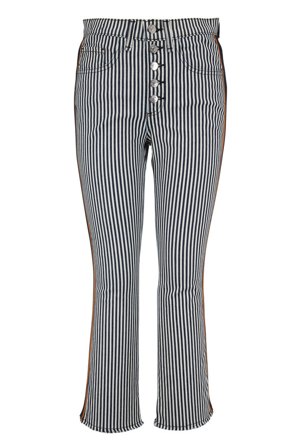 "Veronica Beard Carolyn 10"" Baby Boot Striped Jean"
