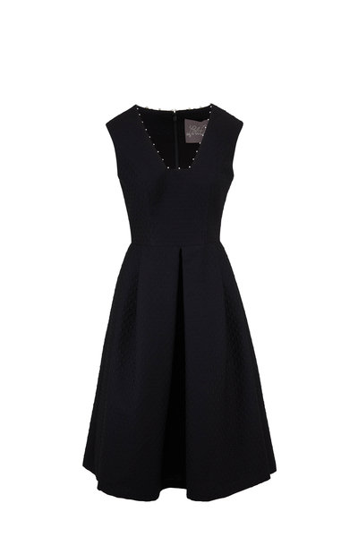 Lela Rose - Black Pearl Detail Sleeveless Fit & Flare Dress