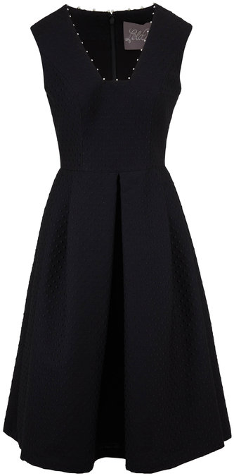 Lela Rose Black Pearl Detail Sleeveless Fit & Flare Dress