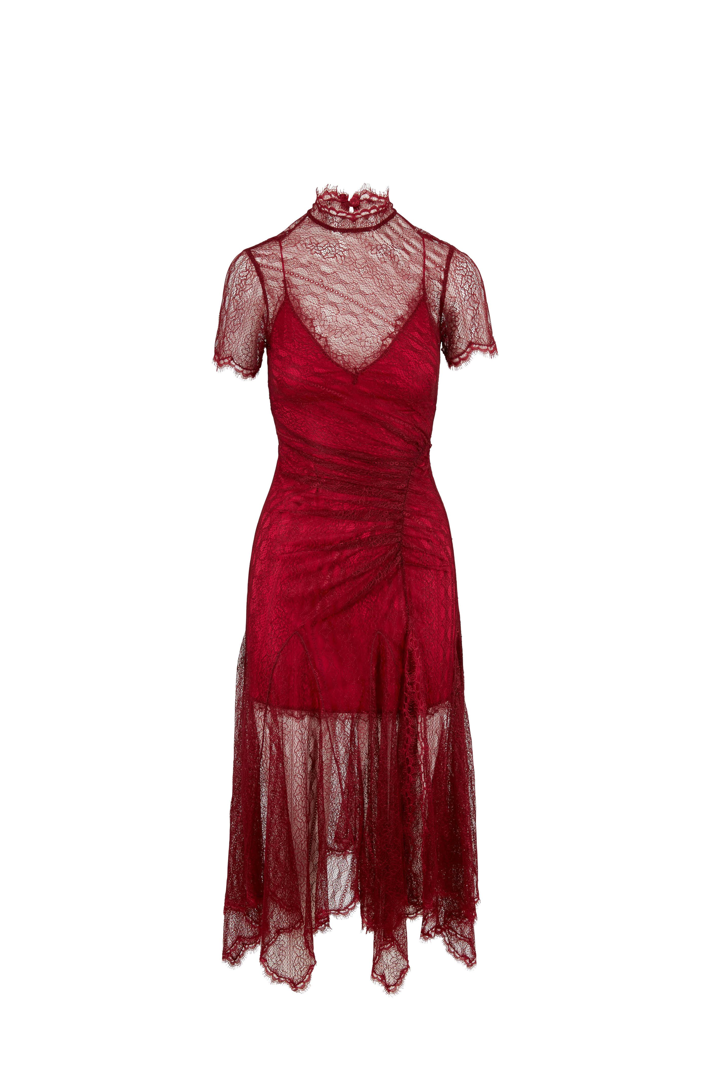 47063a41b8a Jonathan Simkhai - Siren Red Satin Lace Short Sleeve Dress ...