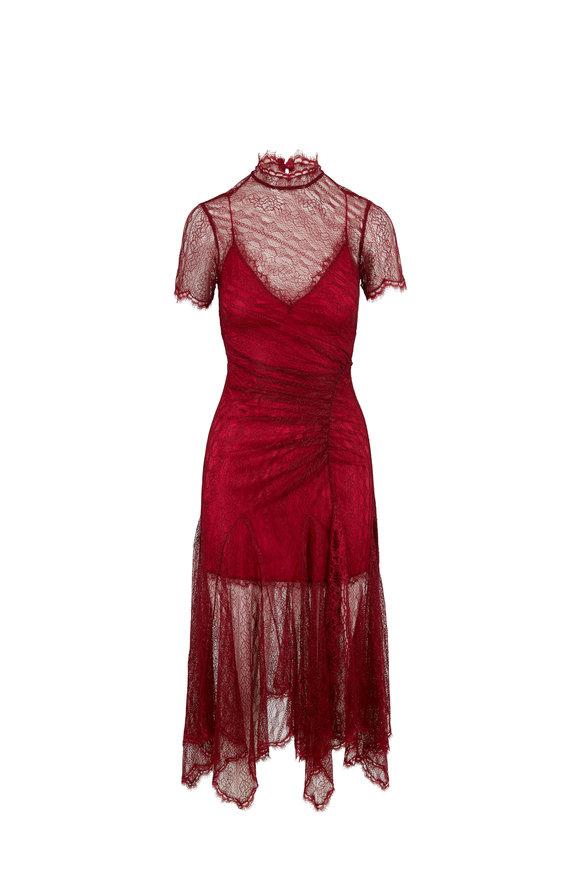 Jonathan Simkhai Siren Red Satin Lace Short Sleeve Dress