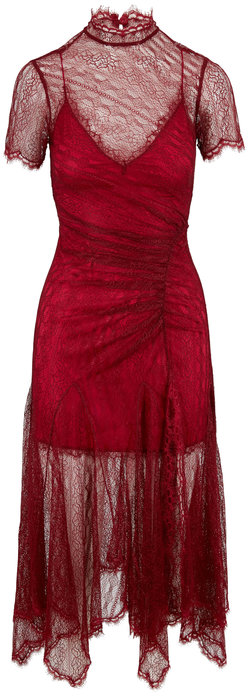 Jonathan Simkhai Siren Red Satin Lace Short Sleeve Dress