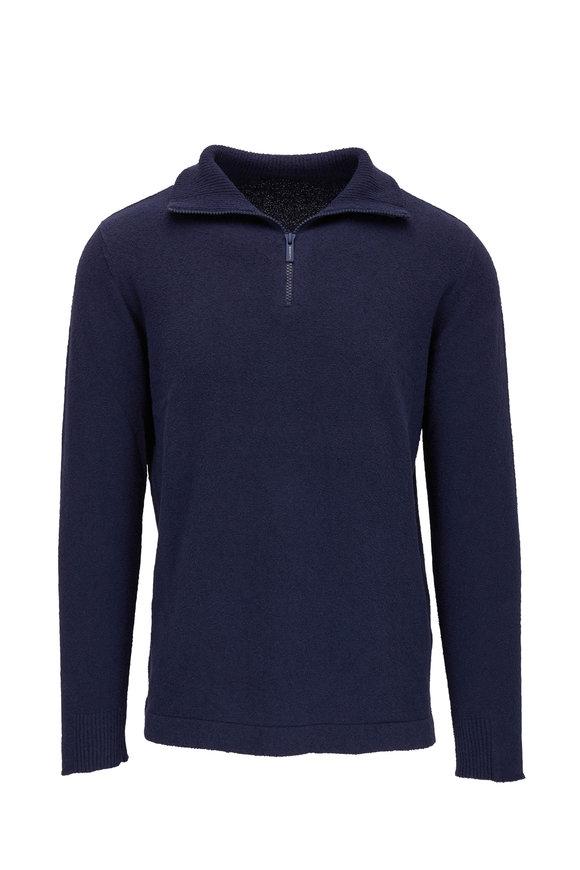 04651/ Navy Blue Terry Quarter-Zip Pullover