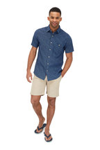 Faherty Brand - Indigo Dot Patterned Short Sleeve Sport Shirt