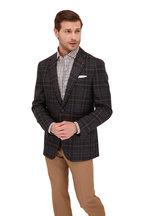 Isaia - Dark Gray & Tan Mouline Plaid Wool Sportcoat
