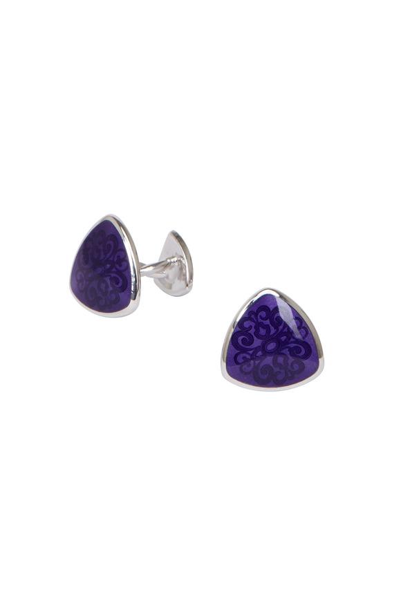 Baade II Sterling Silver Purple Teardrop Cuff Links