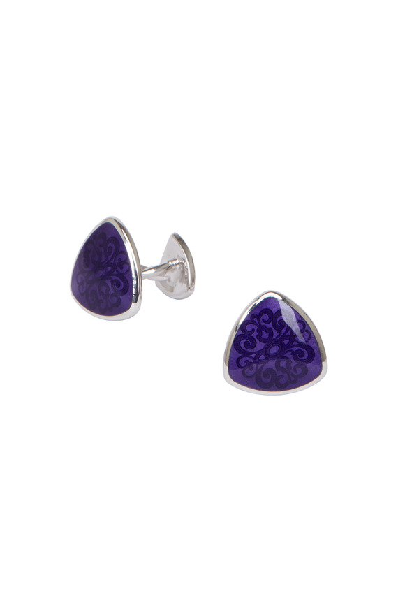 Baade II Sterling Silver Purple Teardrop Cuff Links