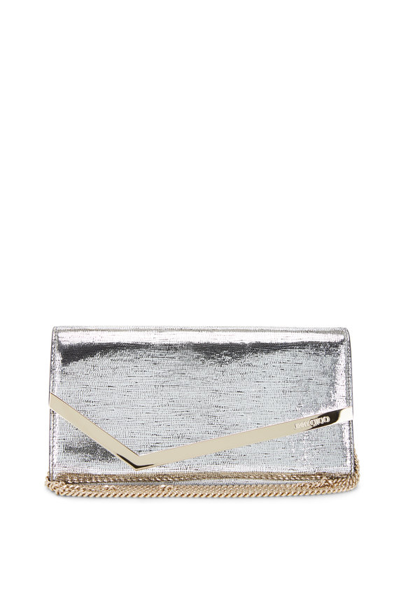 Jimmy Choo Emmie Silver Lizard Print Metallic Clutch