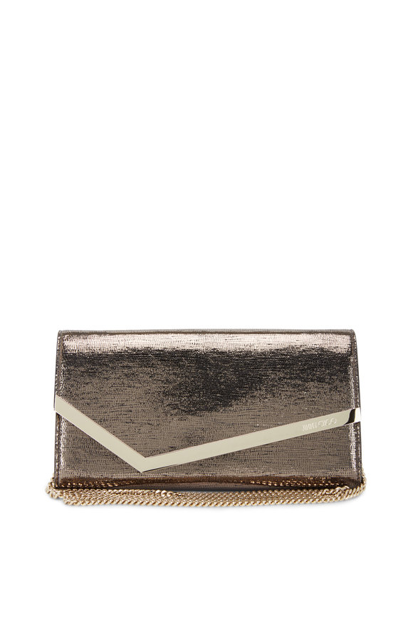 Jimmy Choo Emmie Anthracite Lizard Print Metallic Clutch