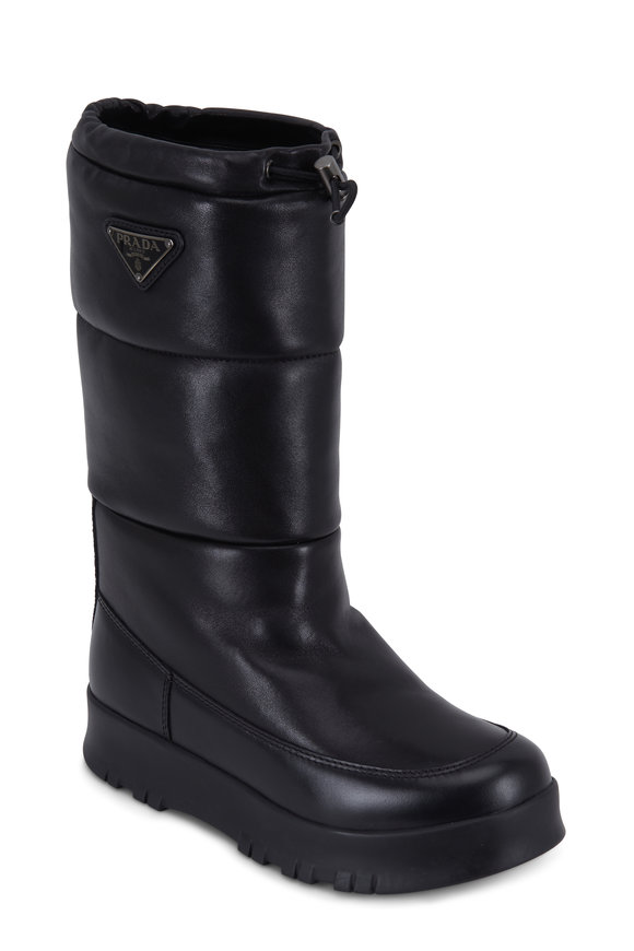 Prada Black Quilted Bomber Drawstring Snow Boot