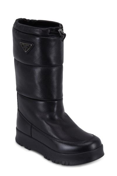Prada - Black Quilted Bomber Drawstring Snow Boot