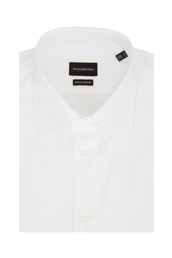 Ermenegildo Zegna Trofeo Comfort White Dress Shirt