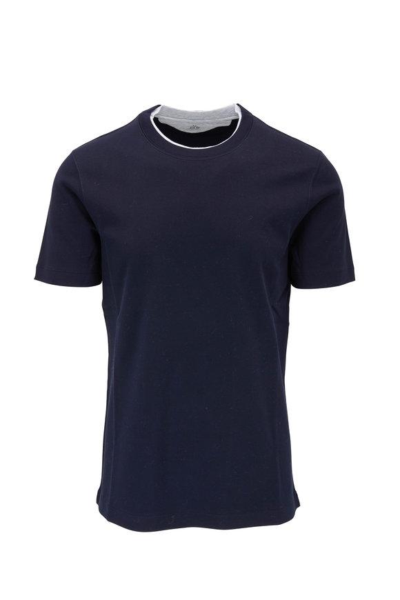 Brunello Cucinelli Navy Cotton Gray Collar Slim Fit T-Shirt
