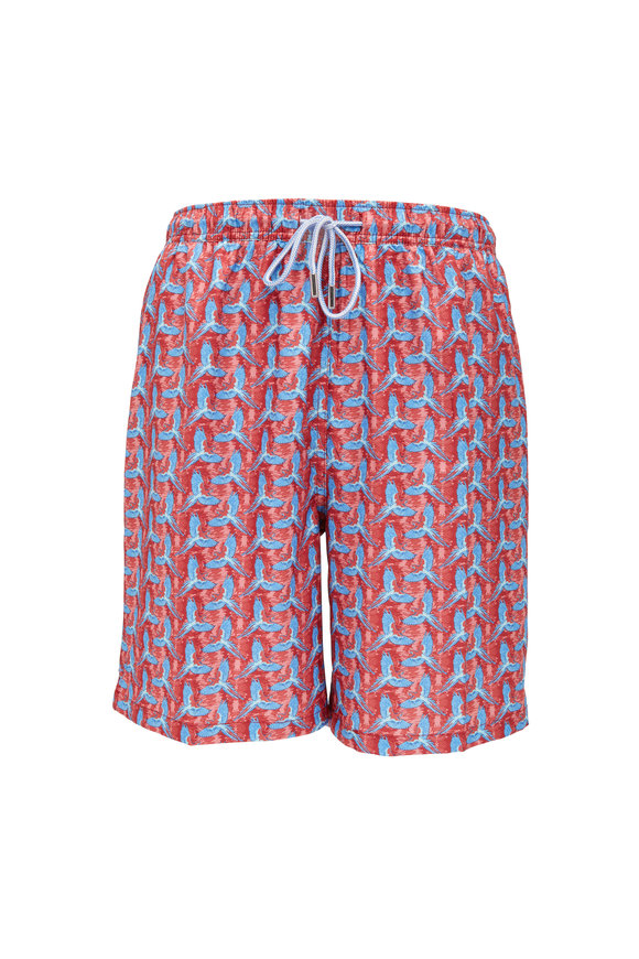 Peter Millar Red Birds Of Paradise Swim Trunks