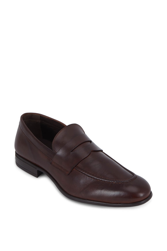 G Brown Cannon Dark Brown Leather Penny Loafer