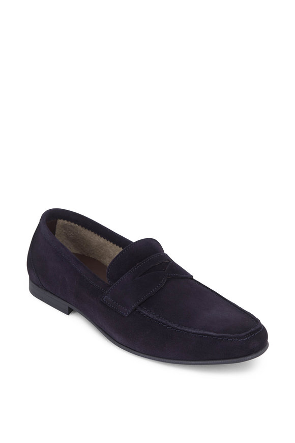 G Brown Hudson Navy Blue Suede Loafer