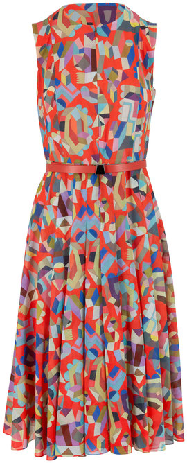 Akris Multicolor Geometric Print Zip-Front Belted Dress