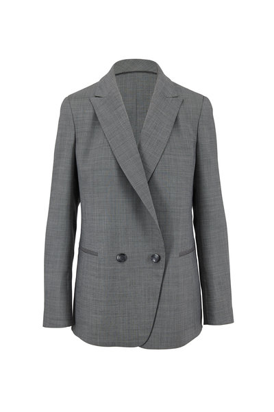 Akris - Dandre Black & Swan Houndstooth Jacket