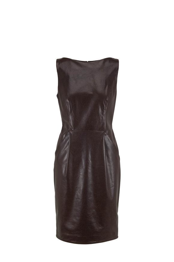 Adam Lippes Dark Brown Leather Sleeveless Sheath Dress