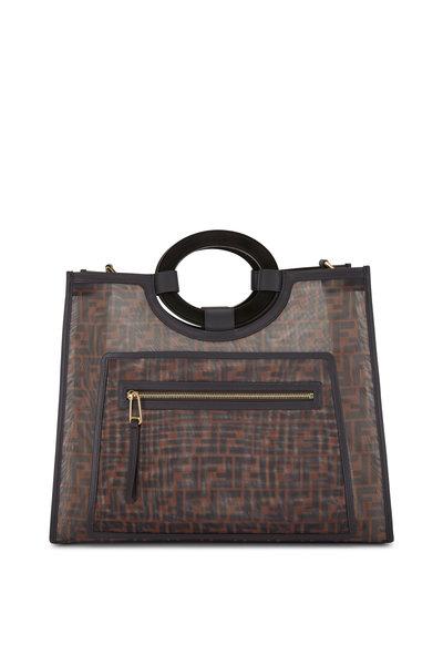 Fendi - Runaway Black & Brown Logo Mesh Tote