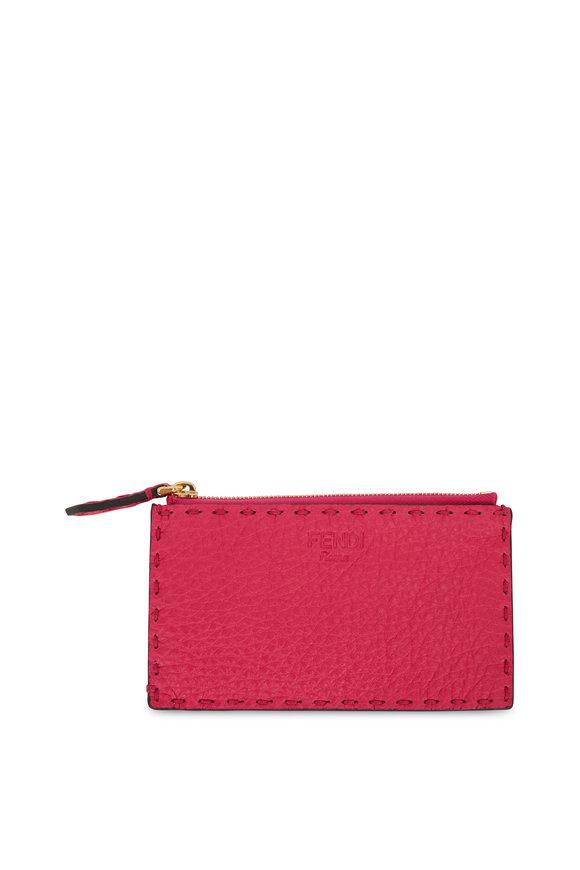 Fendi Fuchsia & Orange Bi-Color Leather Pouch Card Case